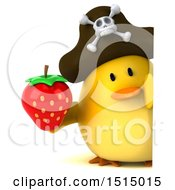 3d Yellow Bird Pirate Holding A Strawberry On A White Background