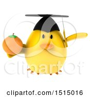 3d Yellow Bird Graduate Holding An Orange On A White Background