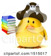 3d Yellow Bird Pirate Holding Books On A White Background