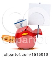 3d Chubby Red Bird Sailor Holding A Hot Dog On A White Background
