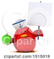3d Chubby Red Bird Sailor Holding A Green Apple On A White Background