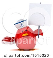 3d Chubby Red Bird Sailor Holding A Steak On A White Background