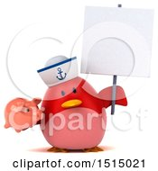 3d Chubby Red Bird Sailor Holding A Piggy Bank On A White Background
