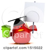 3d Chubby Red Bird Graduate Holding A Recycle Bin On A White Background