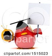 3d Chubby Red Bird Graduate Holding A Tv On A White Background