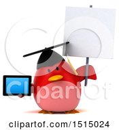 3d Chubby Red Bird Graduate Holding A Tablet On A White Background