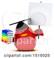 3d Chubby Red Bird Graduate Holding Books On A White Background