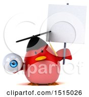 3d Chubby Red Bird Graduate Holding An Eye On A White Background