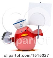 3d Chubby Red Bird Sailor Holding A Euro On A White Background