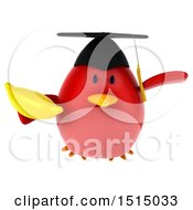 3d Chubby Red Bird Graduate Holding A Banana On A White Background