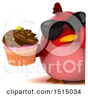 3d Chubby Red Bird Holding A Cupcake On A White Background