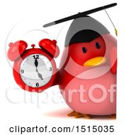 3d Chubby Red Bird Graduate Holding An Alarm Clock On A White Background