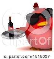 3d Chubby Red Bird Holding A Wine Tray On A White Background