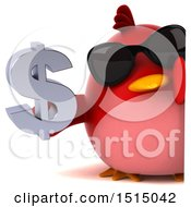 3d Chubby Red Bird Holding A Dollar Sign On A White Background