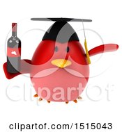 3d Chubby Red Bird Graduate Holding Wine On A White Background