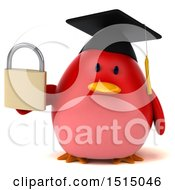 3d Chubby Red Bird Graduate Holding A Padlock On A White Background