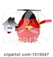 3d Chubby Red Bird Graduate Holding A House On A White Background