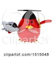 3d Chubby Red Bird Graduate Holding A Plane On A White Background