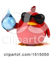 3d Chubby Red Bird Holding A Water Drop On A White Background