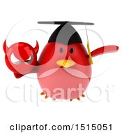 3d Chubby Red Bird Graduate Holding A Devil On A White Background