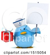 3d Chubby Blue Bird Sailor Holding A Gift On A White Background