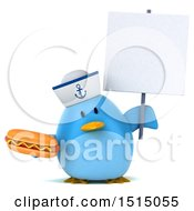 3d Chubby Blue Bird Sailor Holding A Hot Dog On A White Background
