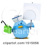 3d Chubby Blue Bird Sailor Holding A Gas Can On A White Background