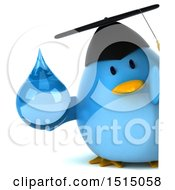 3d Chubby Blue Bird Graduate Holding A Water Drop On A White Background