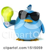 3d Chubby Blue Bird Holding A Light Bulb On A White Background