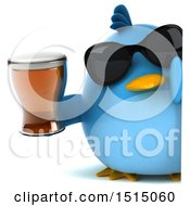 3d Chubby Blue Bird Holding A Beer On A White Background