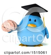 3d Chubby Blue Bird Graduate Holding A Brain On A White Background