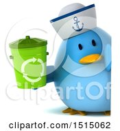Clipart Of A 3d Chubby Blue Bird Sailor Holding A Recycle Bin On A White Background Royalty Free Illustration