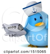 Clipart Of A 3d Chubby Blue Bird Sailor Holding An Airplane On A White Background Royalty Free Illustration