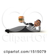3d Young Black Business Man Holding A Burger On A White Background