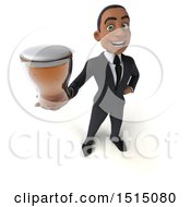 3d Young Black Business Man Holding A Beer On A White Background