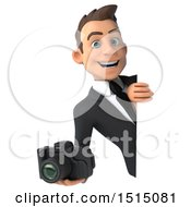 3d White Business Man Holding A Camera On A White Background