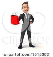 3d White Business Man Holding A Shopping Bag On A White Background