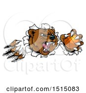 Clipart Of A Vicious Aggressive Bear Mascot Slashing Through A Wall With A Basketball In A Paw Royalty Free Vector Illustration by AtStockIllustration