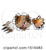 Poster, Art Print Of Vicious Aggressive Bear Mascot Slashing Through A Wall With A Basketball In A Paw