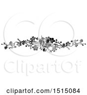 Clipart Of A Black And White Spring Blossom Design Element Royalty Free Vector Illustration