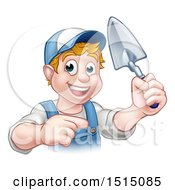 Clipart Of A White Male Mason Worker Holding A Trowel And Pointing Royalty Free Vector Illustration by AtStockIllustration