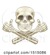 Cartoon Human Skull And Crossbone Arms With Thumbs Up