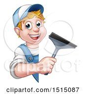Clipart Of A Cartoon Happy White Male Window Cleaner Holding A Squeegee Around A Sign Royalty Free Vector Illustration by AtStockIllustration