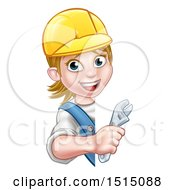 Poster, Art Print Of Cartoon Happy White Female Plumber Holding An Adjustable Wrench Around A Sign