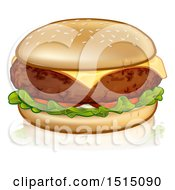 Clipart Of A Cheeseburger With A Sesame Seed Bun Cheddar Tomato And Lettuce Royalty Free Vector Illustration