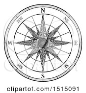 Clipart Of A Black And White Map Compass Rose Royalty Free Vector Illustration