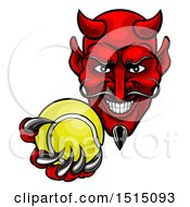 Clipart Of A Grinning Evil Red Devil Holding Out A Tennis Ball In A Clawed Hand Royalty Free Vector Illustration by AtStockIllustration