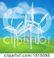 Clipart Of A Wind Farm With Turbines In A Hilly Landscape Royalty Free Vector Illustration