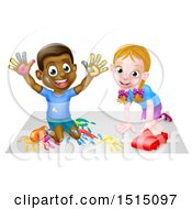 Poster, Art Print Of Black Boy Finger Painting And White Girl Playing With A Toy Car
