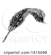Clipart Of A Black And White Engraved Feather Quill Pen Royalty Free Vector Illustration